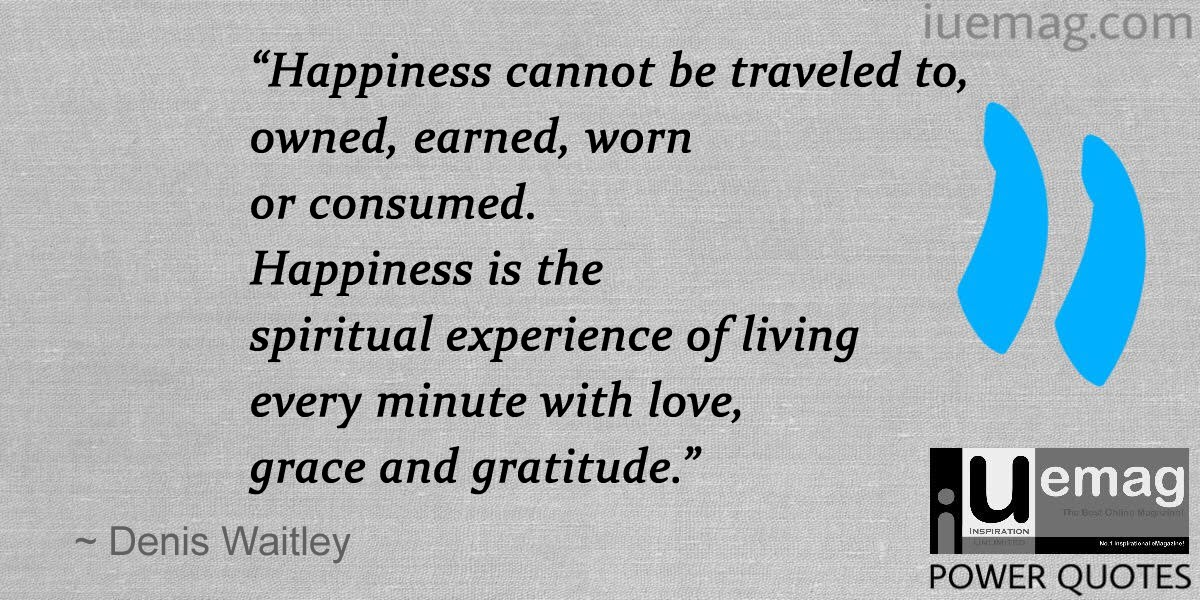 Happiness Is The Spiritual Experience Of Living Every Minute With Love,  Grace And Gratitude.u201d Denis Waitley Quotes That Can Change Your Perspective  On Life